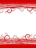 Red Swirls Snow Christmas Border. A background illustration featuring a double border of red swirls and white snow in basic colors Royalty Free Stock Image