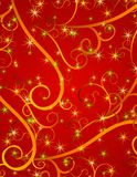 Red Swirls Stars Christmas Background vector illustration