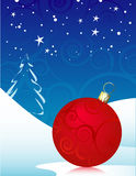 Red Swirly Christmas Ornament. Winter Background, Easy-edit file Stock Photos