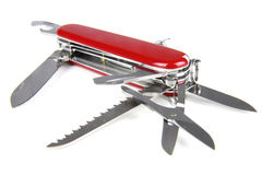 Red swiss army knife. Opened red swiss army knife isolated on white background Stock Photo