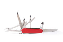 Red Swiss army knife isolated on white. Background Stock Images