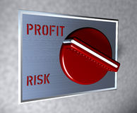 Red Switch Profti vs. Risk. Business illustration red switch with caption Profti vs. Risk Stock Photo