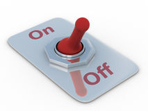 Red switch on a white background. 3D image Stock Images
