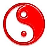 Red symbol. Simple 3d jin-yang/tao symbol Royalty Free Stock Photography
