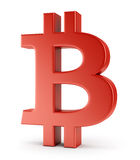 Red symbol of bitcoin Stock Photos