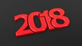 2018 icon compact red  2. Red 2018 symbol on black background, represents the new year 2018, three-dimensional rendering, 3D illustration Stock Photo