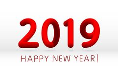 Red 2019 symbol, happy new year isolated on white background, vector illustration. Art royalty free illustration
