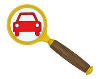 A red symbol of a vehicle in the magnifying glass Stock Photography