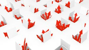 Arrow Hatches. Red symbolic arrows emerging from open hatches, 3d illustration, horizontal, over white Stock Photo