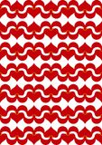Red synergy of love. Tiled swans and hearts visualizing the synergy of being together and being in love Royalty Free Stock Images