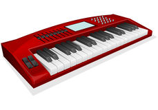 Red synthesizer. Vector illustration of red synthesizer on white background Stock Photo