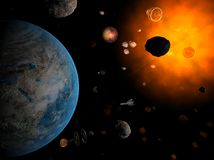 Red system and spaceship. Red sun with asteroid field with planet as Earth in hell system Stock Photos