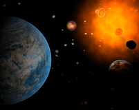 Red system and spaceship. Red sun with asteroid field with planet as Earth in hell system Stock Image