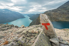 Red T at Besseggen Jotunheimen park Norway Royalty Free Stock Images