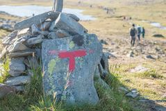Red T- markings on the tourist route, island of Mageroya, Norway Royalty Free Stock Photography