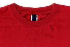 Red T-shirt Design with Tags and Labels stock photo