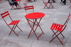 Red table and chairs outdoor Royalty Free Stock Images