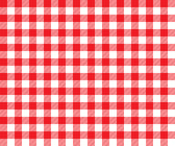 Red table cloth background seamless pattern. Vector illustration of traditional gingham dining cloth with fabric texture. Checkered picnic cooking tablecloth Royalty Free Stock Photography