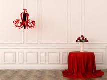 Red table and lamp Stock Image