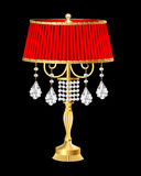 Red table lamp with crystal pendants Stock Images