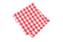 Red table napkins on white background Royalty Free Stock Images