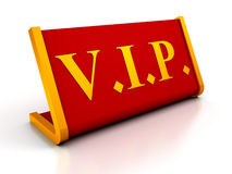 Red Table Plate Sign of VIP on white background Stock Photo