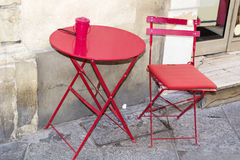Red  table with red chair Royalty Free Stock Images