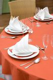 Red Table Set for Dinner Royalty Free Stock Photos