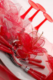 Red table setting. For christmas party Royalty Free Stock Photos