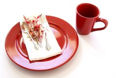 Red Table Setting Royalty Free Stock Photo