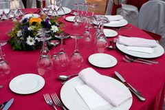 Red Table Setting. For a Wedding Reception Stock Photo