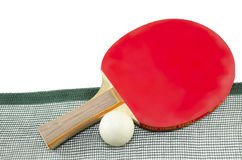 Red table tennis racket and a net isolated Stock Photo