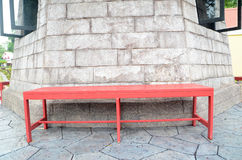 Red table. With white rock background Stock Photos