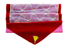 Red tablecloth. Close up shot of red tablecloth decoration Royalty Free Stock Image
