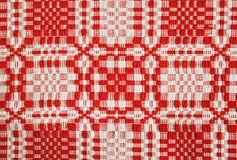 Red tablecloth. Patterned tablecloth in red and white colors Stock Photo