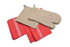 Red Tablecloth made of linen with red stripes and brown gloves Stock Images