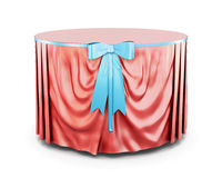 Red tablecloth on round table isolated on white background. 3d. Red tablecloth on round table isolated on white background. With bow.  Blue bow. Front view. 3d Stock Photos