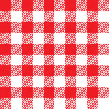 Red tablecloth seamless pattern. Vector illustration of traditional gingham dining cloth with fabric texture. Checkered picnic cooking tablecloth Royalty Free Stock Photos