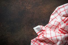 Red tablecloth on the table. Royalty Free Stock Photography