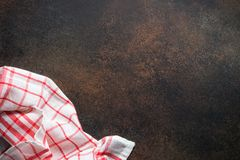 Red tablecloth on the table. Stock Image