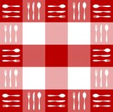 Red tablecloth texture with cutlery pattern. Food, restaurant, menu design with cutlery silhouettes pattern on red tablecloth texture. Vector available Royalty Free Stock Photography