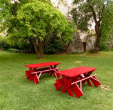 Red tables and benches Royalty Free Stock Images