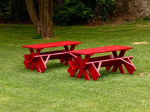 Red tables and benches Royalty Free Stock Photos