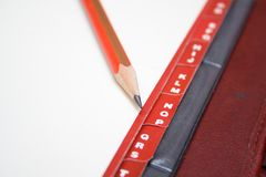 Red tabs and pencil Royalty Free Stock Photography