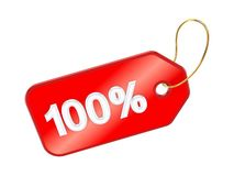 Red tag 100%. Isolated on white background.3d rendered Stock Images