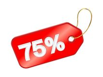 Red tag 75%. Royalty Free Stock Photo