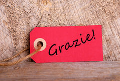 Red Tag with Grazie Royalty Free Stock Photography