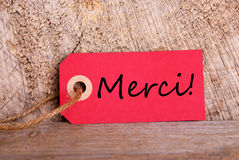 Red Tag with Merci Royalty Free Stock Photos