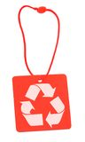 Red tag with recycle symbol Royalty Free Stock Images