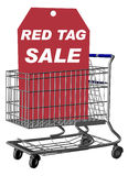 Red Tag Sale. Shopping Cart with Red Tag Sale Tag, Includes a Clipping Path vector illustration